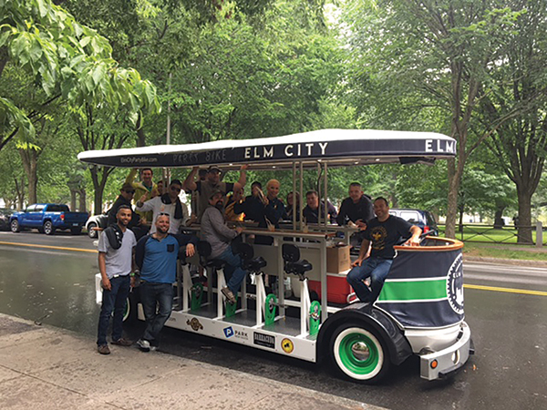 Opici Family Distributing sales teams and trade guests gathered for the VDKA 6100 launch in downtown New Haven on the Elm City Party Bike.