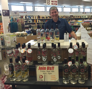 Aaron McNichol of Northeast Beverage showcased the award-winning vodkas at M & R Liquors in South Windsor.