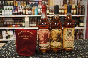A line up of Pappy Van Winkle products. The 12-year-old is not pictured here, but will be available to taste with a donation on February 20, 2016.