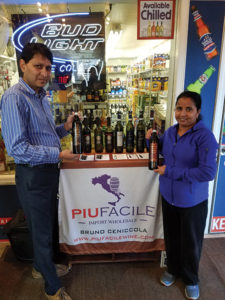 Bipin and Tara Patel, Owners, The Village Wine Shoppe in Milford during an in-store tasting of Piu Facile wines