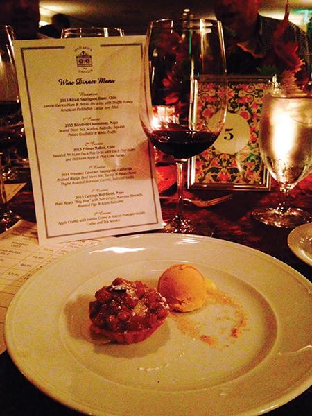 Food and wine pairing menu.