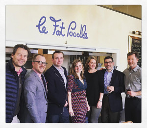 Antoine Blech, Partner/Owner, Le Fat Poodle; Alex Meier-Tomkins, Key Account Manager Fairfield County, Slocum & Sons; Ian Toogood, Manager, Le Fat Poodle; Lydia Cummins, Winemaker, Sidebar Cellars; Kelly Kerekes, Sales Representative, Slocum & Sons; George Staikos, Eastern U.S. Sales Manager, Ramey Wine Cellars; and Cameron Frey, Winemaker, Ramey Wine Cellars.