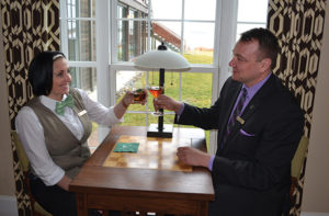 "The Weekapaug Inn's Jennifer Hoxie and Ryan Robinson with the ""Irish Spring"" cocktail."