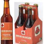 Riedenburger Organic Historic Emmer Beer Unfiltered is brewed out of historic ancient grain, 50% emmer malt, einkorn, spelt, barley and wheat malt. The beer is dark amber in color, ABV 5.5%.