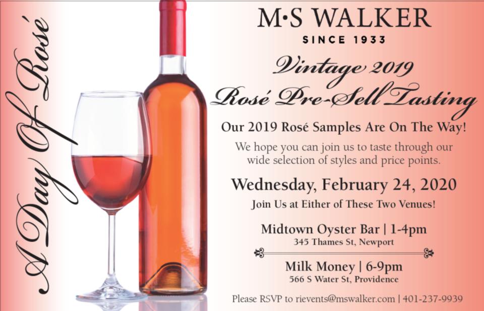 February 24, 2020: MS Walker Rosé Pre-Sell (Trade-Only) Tastings