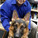 Pankaj Patel with Diesel, the Patel's German Shepherd.