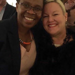 Ntsiki Biyela, Winemaker, Stellekaya Wines with Anne Sage, Co-owner, Sage Cellars during a wine dinner hosted at the Providence Art Club in October.