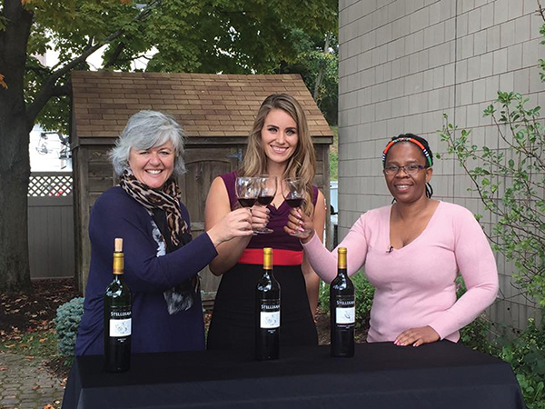 Jane Lello, Owner, Stellekaya Vineyards; Michaela Johnson, Anchor, The Rhode Show; Ntsiki Biyela, Winemaker, Stellekaya Vineyards.