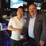 Daniel Li, Owner, Kashi Japanese Restaurant in Stamford with Michael Schlink in July.
