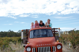 Suzi Hilder and Wayne Ahrens of Smallfry Wines and their family