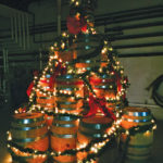 The Sons of Liberty barrel Christmas tree on display in its distillery for the holiday season.