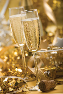 two glasses of champagne for christmas close up