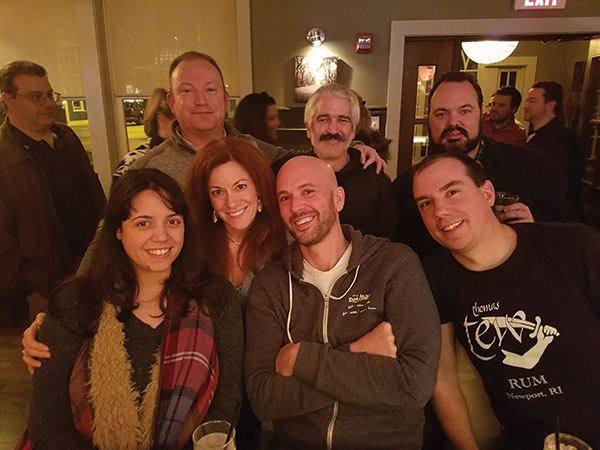 "Back row: Ryan Belmore, Event Judge and Editor and Publisher, ""What's Up Newp;"" John Begin, Coordinator of Newport Cocktail Wars and Bartender at Gas Lamp Grille and White Horse Tavern; Tristan Pinnock, Editor-in-Chief at ""The Newport Blast;"" Front row: Jen Davis, Event Judge and USBG RI President; Erin Cassese, Bartender, The Boat House; Jason Kindness, Event Judge and Co-owner, Kai Bar; Brent Ryan, Event Judge and Co-founder/Master Distiller, Newport Distilling Company."