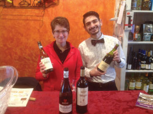 Cathy Schaller, Sales Representative, Slocum & Sons and Miggy Torres, Toast Wines By Taste, during the in-store tasting.