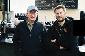 Two Roads Brewmaster Phil Markowski and Guinness Brewmaster Peter Simpson.