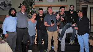 Chris Munk, Eder Bros., Inc.; Jeff Conelius, Allan S. Goodman; Nikki Simiches, Bar Manager, Cure Restaurant; Daniel Rek, Event Judge and USBG CT Secretary; Evan Parsons, Second Place; Dave Cohade, First Place Winner; Conrad Meurice, Third Place; and Roger Gross, Event Judge and USBG CT member.
