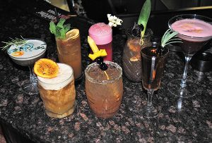 A selection of cocktails created during the second competition at Hudson Grille in Stamford on April 24.