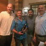 Bryce Hardy of The Olive Bar took second place; Rob Martini of Ideal Tavern, Winner; Jeff Hodson of Hub & Spoke placed third; Jeff Conelius, Craft Spirits Specialist, Allan S. Goodman. on June 12.