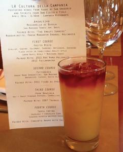 "The April 28, 2014 menu and the ""Amalfi Sunrise"" by Joe Solevo featuring Don Ciccio & Figli Mandarinetto, mandarin orange juice and Aglianico red wine float."