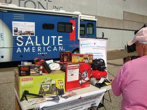 A display of the tools that were awarded to Wright to start his own handyman service company due to a partnership between Work Vessels for Vets, Salute American Vodka and Brescome Barton.